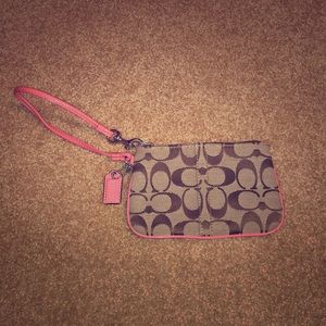 Coach Wristlet with Pink Trim